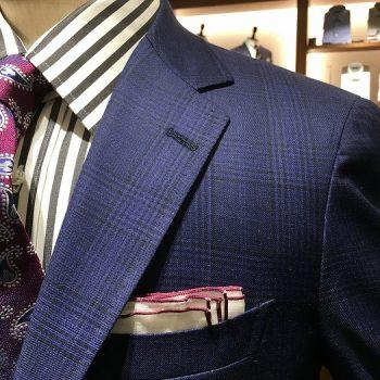 ロロピアーナ別注素材 ブルー系スーツ